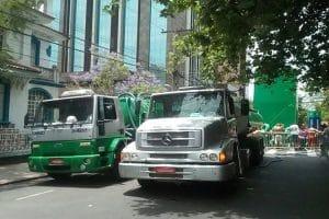 caminhões limpa fossa da Advento atendendo evento em Porto Alegre